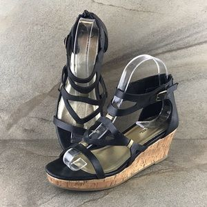 Cherokee Strappy Cork Wedge Sandals Size 4